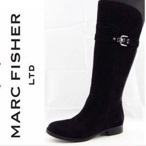 🆕MARC FISHER TAITE BLACK SUEDE EIDING HIGH BOOTS